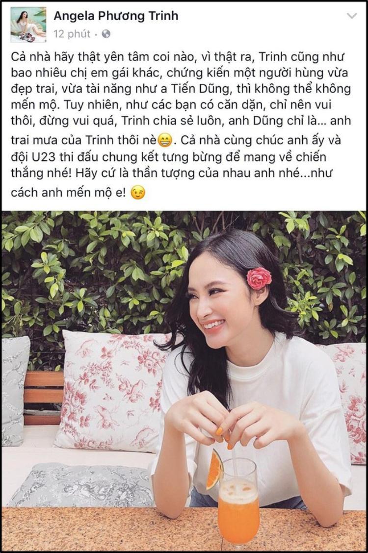 """Angela Phương Trinh thú nhận chỉ xem Tiến Dũng là """"anh trai mưa""""."""