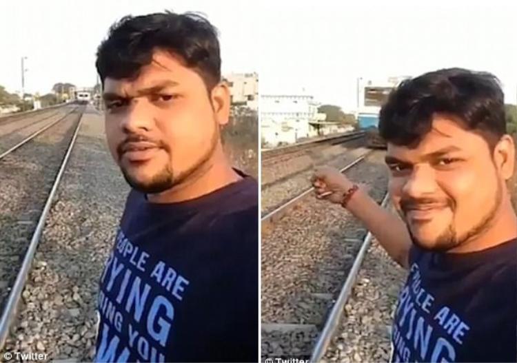 Vì muốn có được tấm ảnh selfie với tàu hỏa, chàng trai đã bất chấp nguy hiểm.