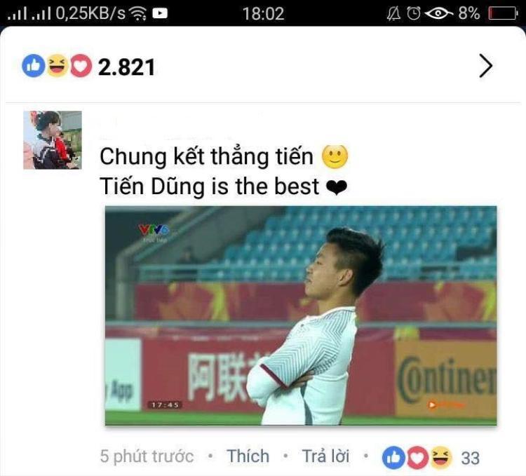 """Để hình Văn Thanh nhưng caption lại là """"Tiến Dũng is the best""""."""