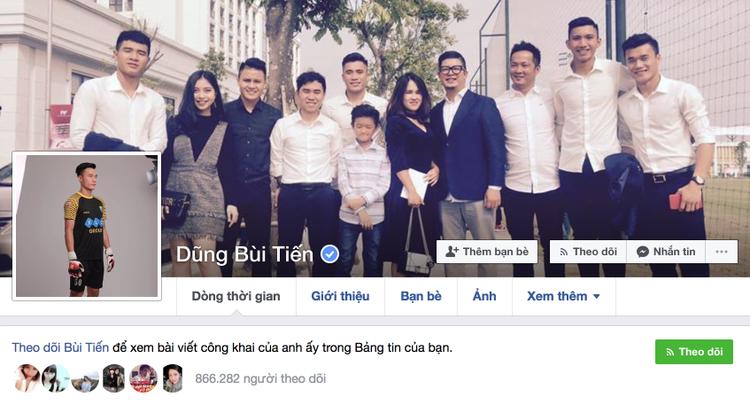 Facebook của thủ thành Bùi Tiến Dũng hiện có gần 900 nghìn người theo dõi.