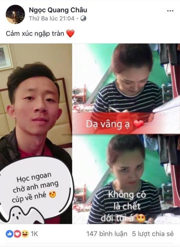 """Châu Ngọc Quang đăng tấm hình kèm những dòng chữ hài hước, nhất là đoạn """"không có là chết với tui á""""."""