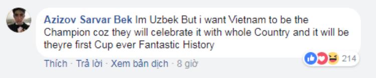 Dòng bình luận của anh chàng Uzbekistan.