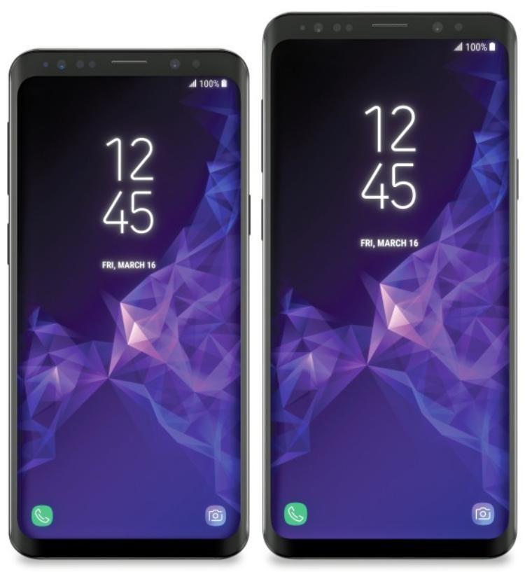 Samsung Galaxy S9 và S9+ rò rỉ rõ nét. Chiếc S9 và S9+ có thể có màn hình 5,8 inch và 6,2 inch lần lượt cong tràn về hai cạnh.