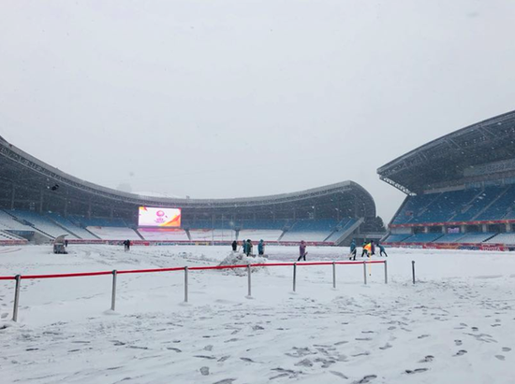 Chung kết U23 Việt Nam  Uzbekistan: Tuyết đang rơi phủ kín mặt sân, nhiệt độ xuống thấp