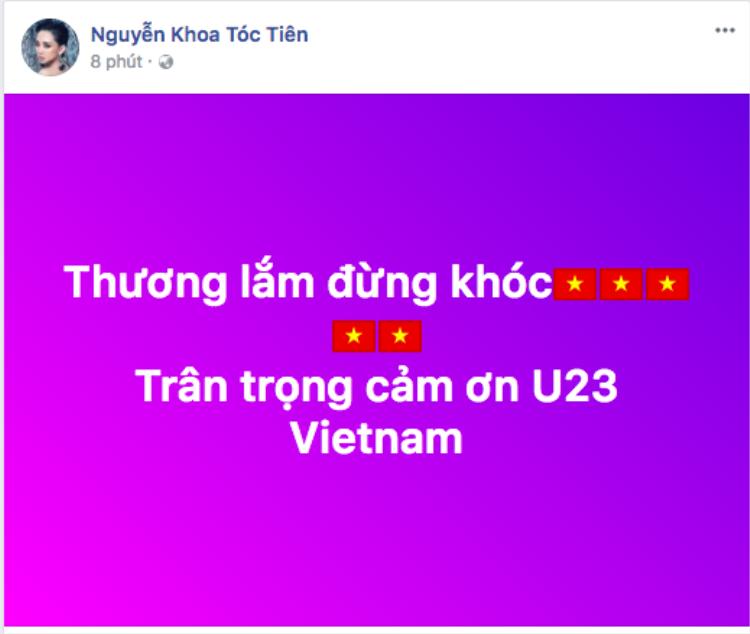 Tóc Tiên lên tiếng an ủi với lòng biết ơn vì một đội tuyển quá đỗi tự hào.