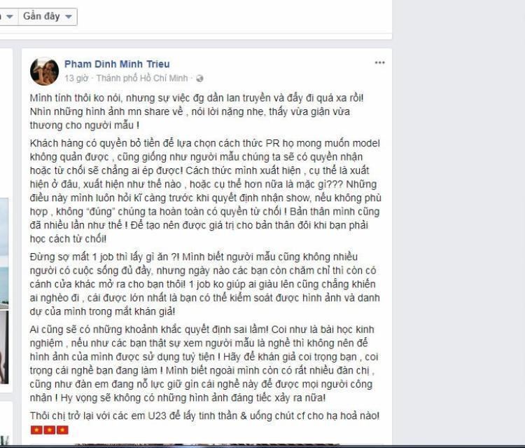 Siêu mẫu Minh Triệu tỏ ra tức giận trước những lời chỉ trích từ cư dân mạng và cảm thấy thương cho đồng nghiệp.