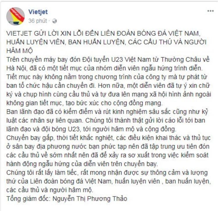 Lời xin lỗi công khai của bà Thảo - Đại diễn hãng Vietjet.