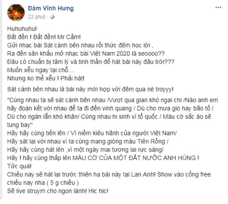 """Nguyên văn dòng trạng thái """"bắt đền"""" của Đàm Vĩnh Hưng dành cho BTC đêm vinh danh U23 vì sự cố mở sai nhạc."""