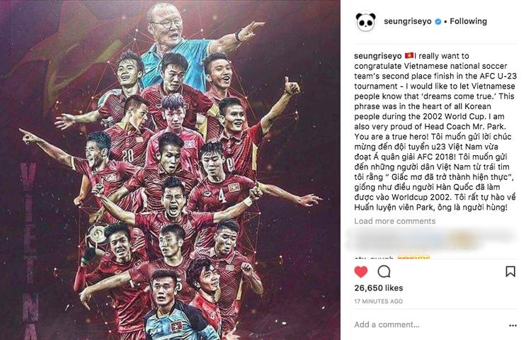 Seung Ri chúc mừng chiến thắng của đội tuyển U23 Việt Nam.