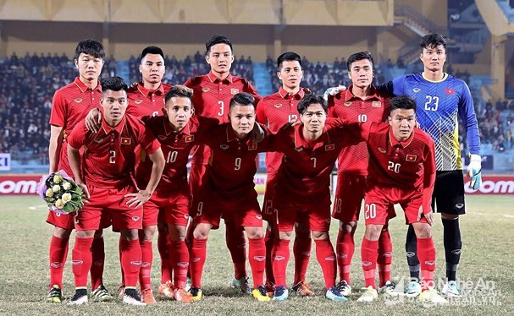Thủ môn Nguyễn Văn Hoàng cùng các cầu thủ U23 Việt Nam.