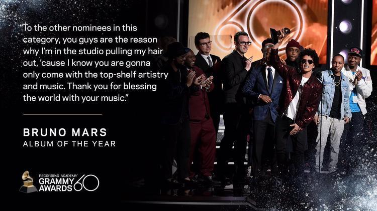 Bruno Mars giật hết giải thưởng lớn của Grammy năm nay, tương tự điều mà Adele đã từng làm. Thế nhưng, có vẻ trường hợp của Adele lại không vấp phải quá nhiều phản đối, thậm chí là còn được tán dương.