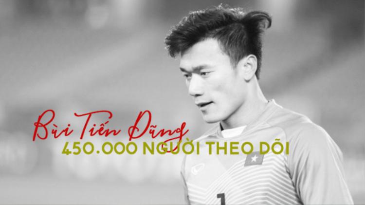 Anh chàng thủ môn điển trai và tài năng Bùi Tiến Dũng (cech_tien_dung) hiện có một tài khoản Instagram thu hút được tới 450.000 người theo dõi.