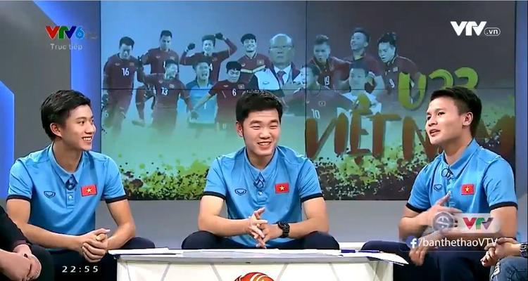 Quang Hải cùng các đồng đội Xuân Trường, Văn Đức xuất hiện trên sóng truyền hình.
