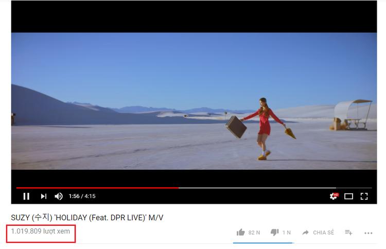 Trong khi đó, Holiday - Suzy chỉ khiêm tốn thu về 1 triệu lượt view trên Youtube.