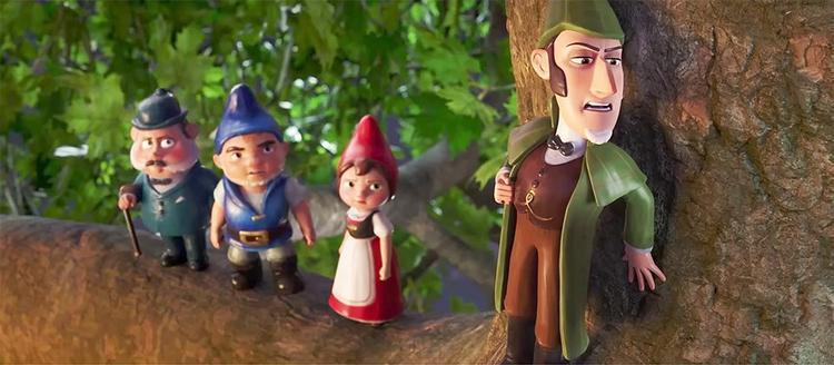 Thám tử Sherlock Gnomes (ngoài cùng bên phải) được tạo hình giống với Thám tử lừng danh Sherlock Holmes của nhà văn Arthur Conan Doyle.