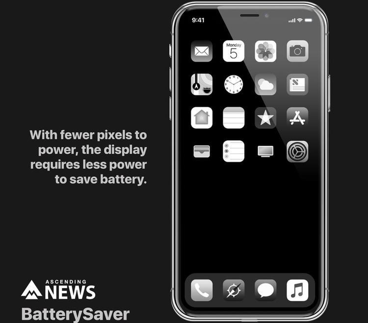 Chế độ tiết kiệm năng lượng với giao diện hiển thị chỉ có màu đen và trắng.