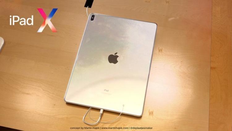 Đây là chiếc iPad Pro với màn hình 12,9 inch cùng thiết kế hoàn toàn mới. Nhìn từ mặt lưng, máy khá giống với chiếc iPad Pro mà bạn có thể mua ở thời điểm hiện tại - ngoài trừ cụm camera kép đặt dọc giống kiểu iPhone X.