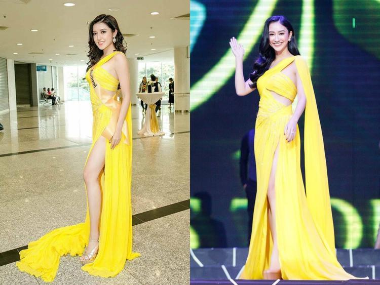 """Màu vàng của chiếc váy rất hợp với làn da nâu khỏe khoắn của tân hoa hậu, tuy nhiên chẳng hiểu sao khi so với Huyền My và Hà Thu thì đương kim hoa hậu """"lép vế"""" hẳn."""