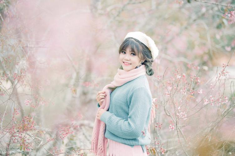 Hoa anh đào đang nở rộ ở Đà Lạt, thu hút các bạn trẻ tới chụp ảnh đón Tết. (Ảnh: Vinh Nguyễn)