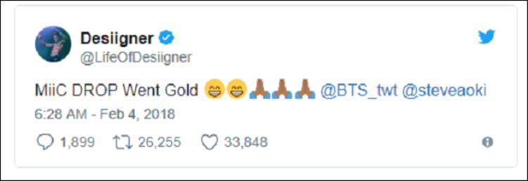 Rapper Desiigner gửi lời chúc mừng BTS.