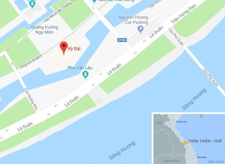Kỳ đài Huế nằm bên bờ sông Hương thơ mộng. Ảnh: Google Maps.