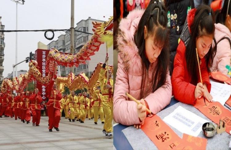 Ngoài tiệc đồ ăn hoành tráng, sự kiện còn có các hoạt động đặc sắc khác như múa lân, hay viết thư pháp.