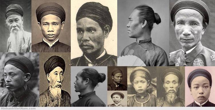 Kiểu vấn khăn nam giới thường có một điểm chung là không để lộ mái tóc trước trán. Hầu hết nam giới đều chỉ vấn theo một kiểu búi tóc cột riêng sau gáy, và khăn vấn lên.