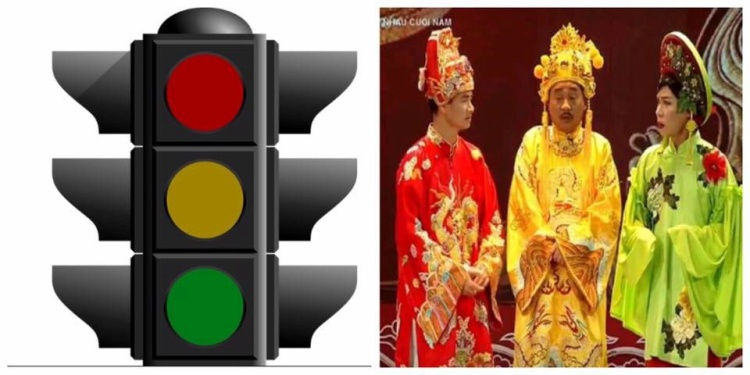 Trang phục của bộ 3 quyền lực được dân mạng ví như bảng màu đèn biển báo giao thông.