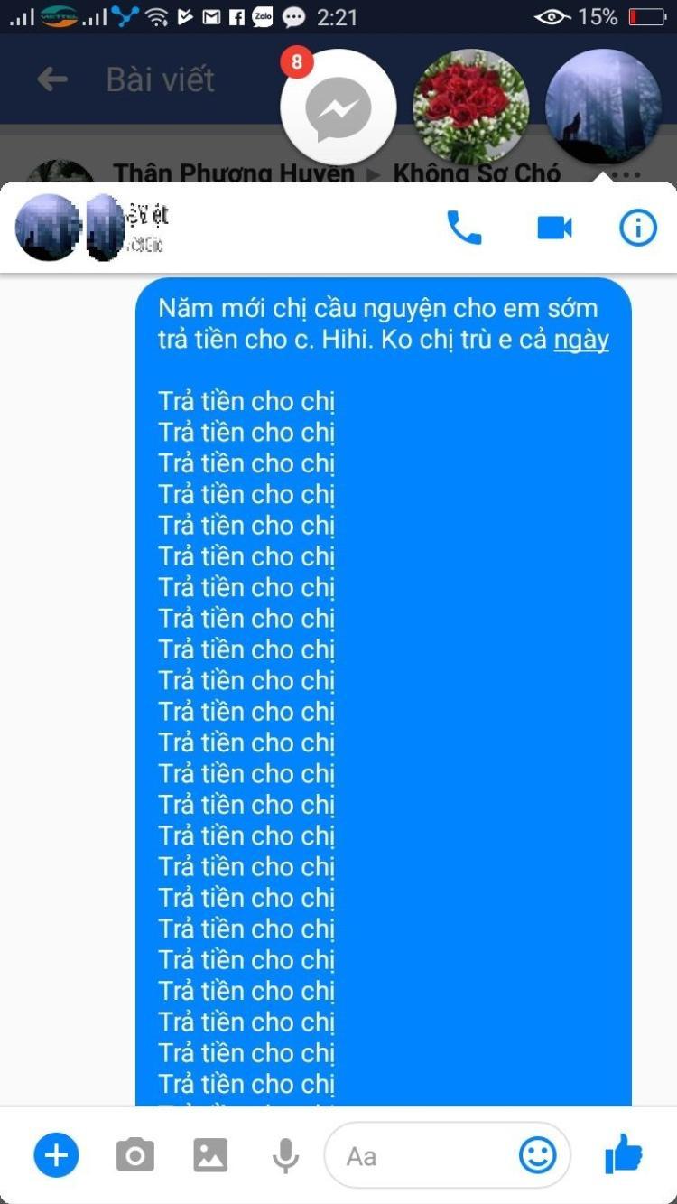 """Nguyễn Thùy Trang đòi nợ ngay ngày mùng 1 Tết với câu khẩu hiệu """"Trả tiền cho chị"""""""