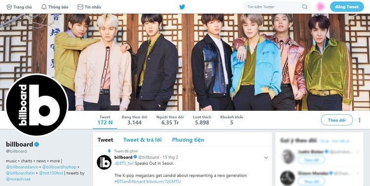 """Trên trang Twitter chính thức của Billboard, BTS cũng """"chiếm sóng"""" rất nhiều."""