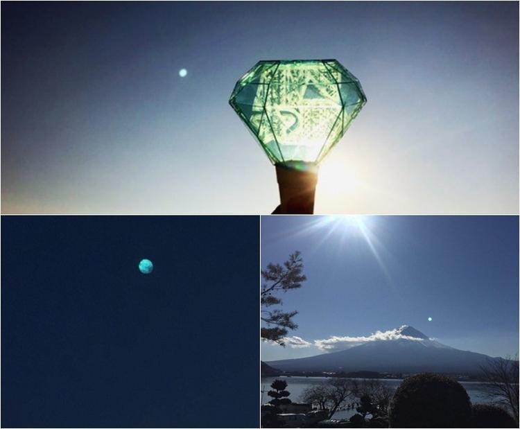 """""""Mặt trăng"""" xanh trên bầu trời Nhật Bản vào ngày đưa tang Jonghyun."""