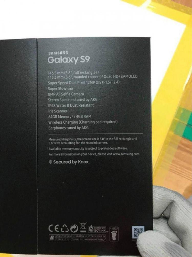 Vỏ hộp được cho là của Samsung Galaxy S9 bản thương mại rò rỉ hồi trung tuần tháng 1 hé lộ nhiều chi tiết về chiếc máy này.