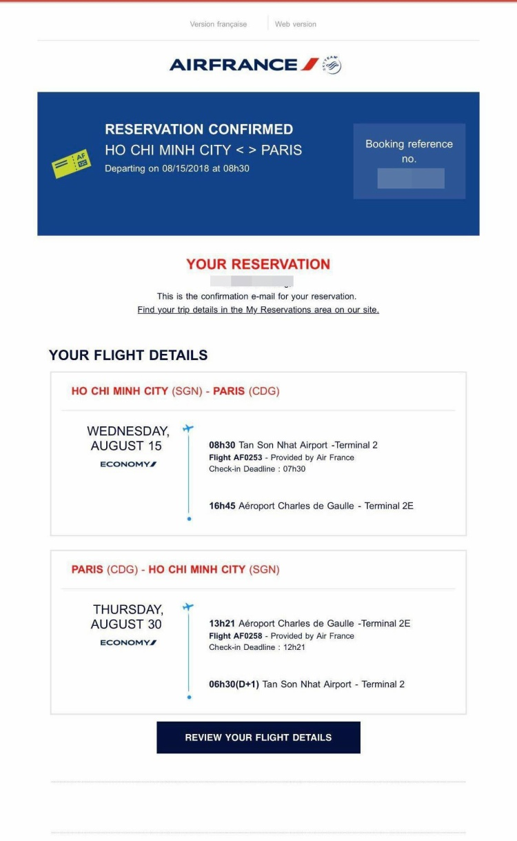 Email xác nhận đặt vé thành công do hãng bay gửi tới 1 khách hàng Việt Nam.