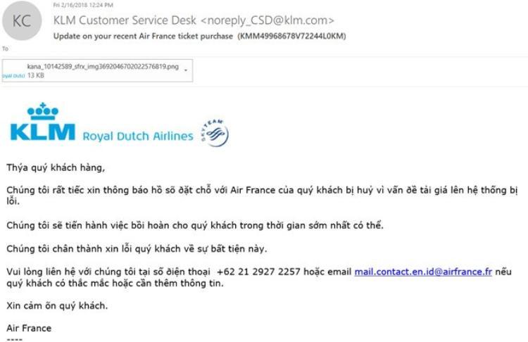 Thư xin lỗi của hãng viết bằng tiếng Việt nhưng mắc nhiều lỗi chính tả.