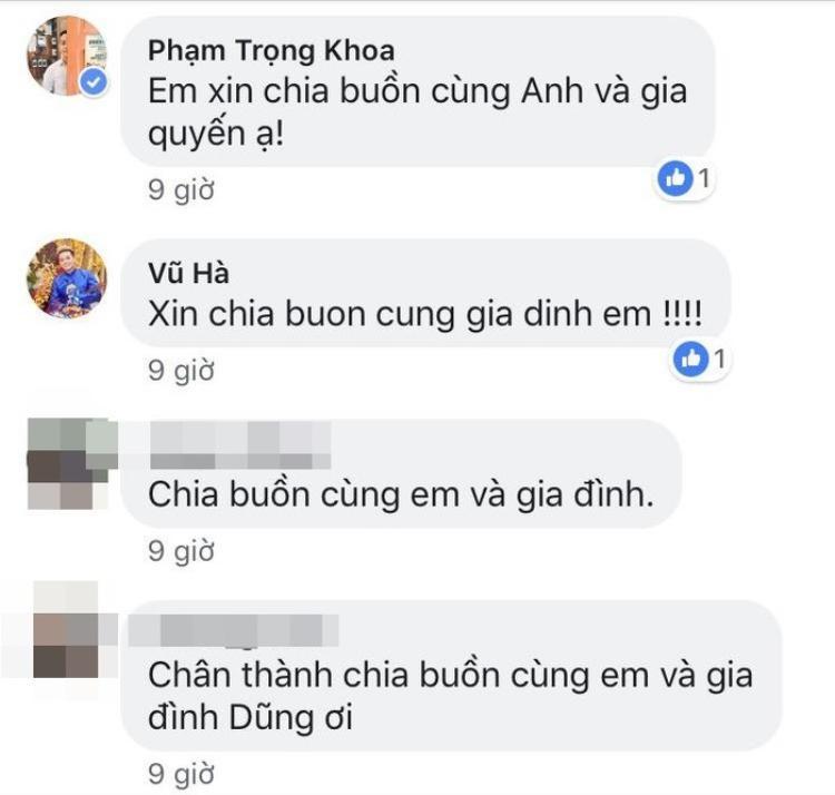 Ca sĩ Vũ Hà và MC Anh Khoa chia buồn cùng Quang Dũng và gia đình.
