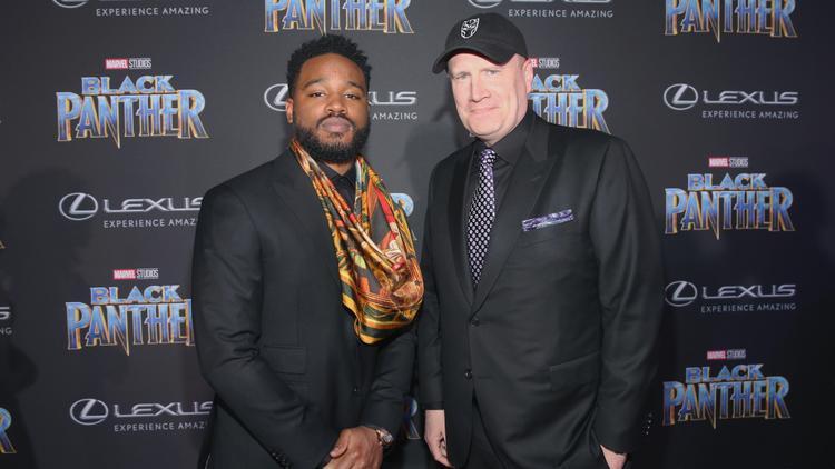 Đạo diễn Ryan Coogler (trái) và chủ tịch Marvel Studios Kevin Feige tại sự kiện ra mắt Black Panther.