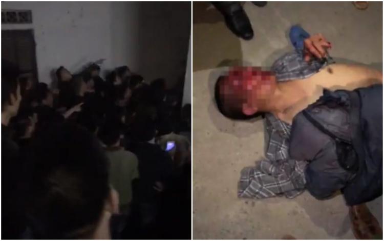 Rất đông người dân kéo đến UBND xã và hình ảnh người đàn ông nghi bắt cóc bé M. bị đánh trọng thương.
