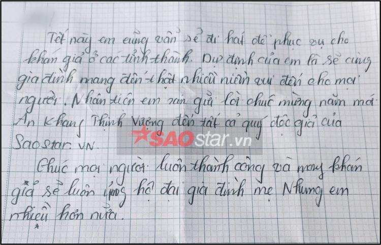 Lời chúc Tết viết tay chân tình của Tuyết Nhung.
