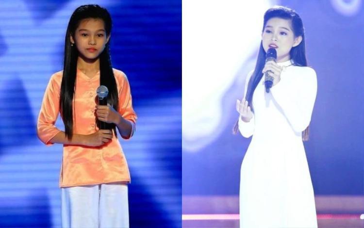 Cô bé Thu Hiền ngày nào trên sân khấu Giọng hát Việt nhí và thiếu nữ Phạm Tuyết Nhung xinh đẹp hiện tại.