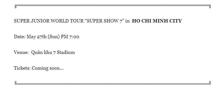 Thông tin vừa được cập nhật trên trang fanpage của Super Show 7. Theo đó, concert này sẽ diễn ra vào ngày 27/5.