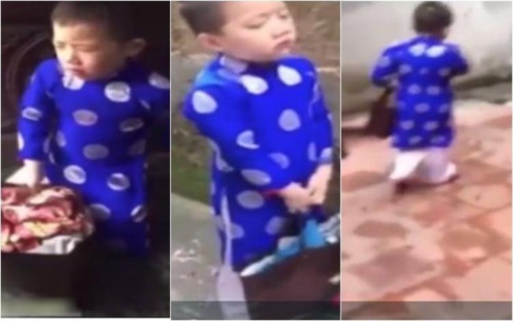 Cậu bé ôm đồ tính bỏ nhà đi.