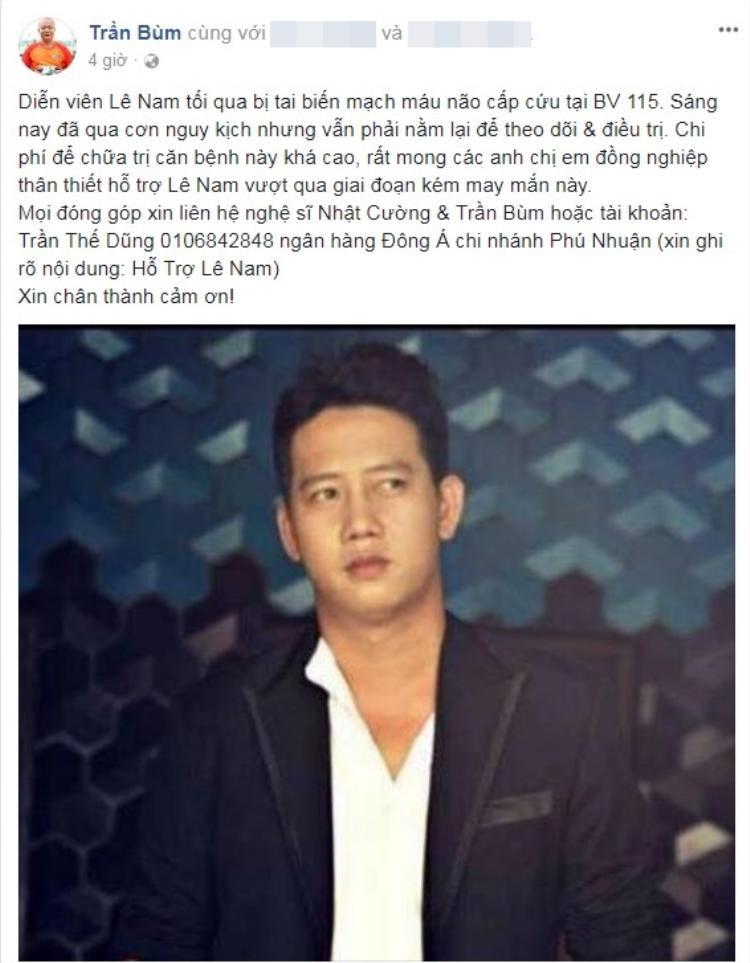 Đạo diễn Trần Bùm kêu gọi các nghệ sĩ giúp đỡ Lê Nam.