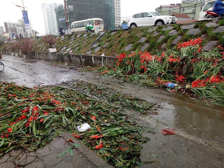 Nhiều cành hoa vứt ngay lối đi lại khiến bị giập nát.