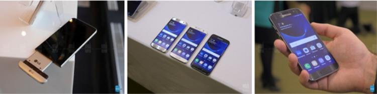 Từ trái qua phải: LG G5, Samsung Galaxy S7 edge, và Samsung Galaxy S7.