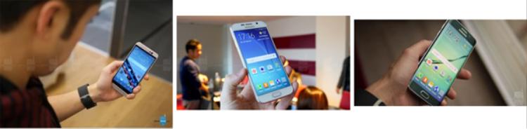 Từ trái qua phải: HTC One M9, Samsung Galaxy S6, và Samsung Galaxy S6 edge.