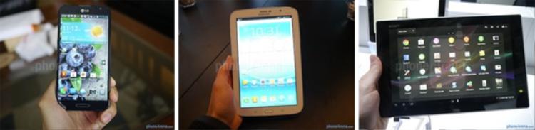 Từ trái qua phải: LG Optimus G Pro, Samsung Galaxy Note 8.0, và Sony Xperia Tablet Z.
