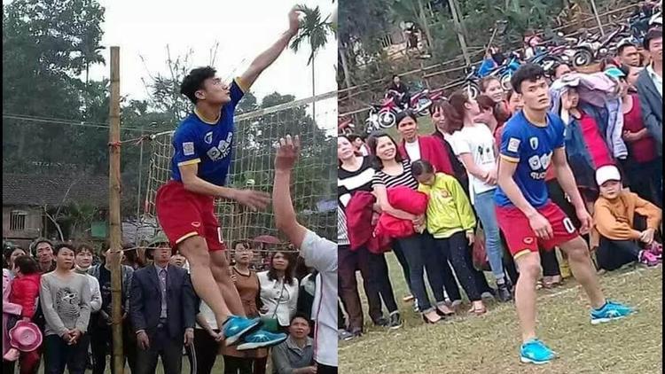 Bùi Tiến Dũng đánh bóng chuyền ở quê nhà.