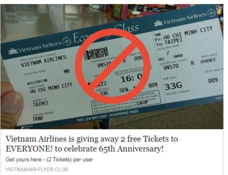 Đường link tặng vé máy bay nhiều người đang chia sẻ.
