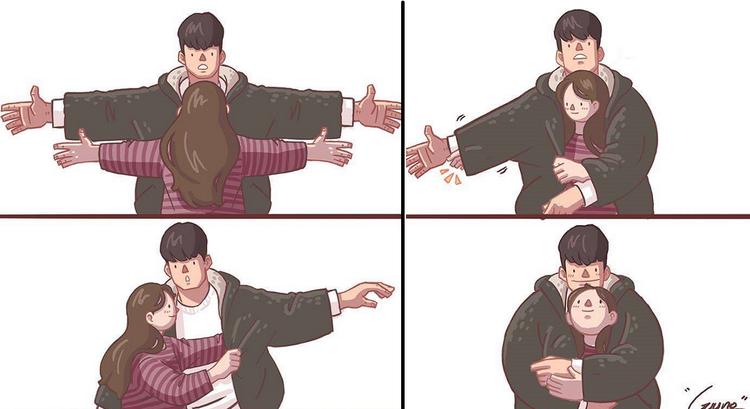 """Những chiếc áo khoác siêu rộng của bạn trai luôn là nơi """"ẩn náu"""" an toàn và ấm áp cho các cô gái"""