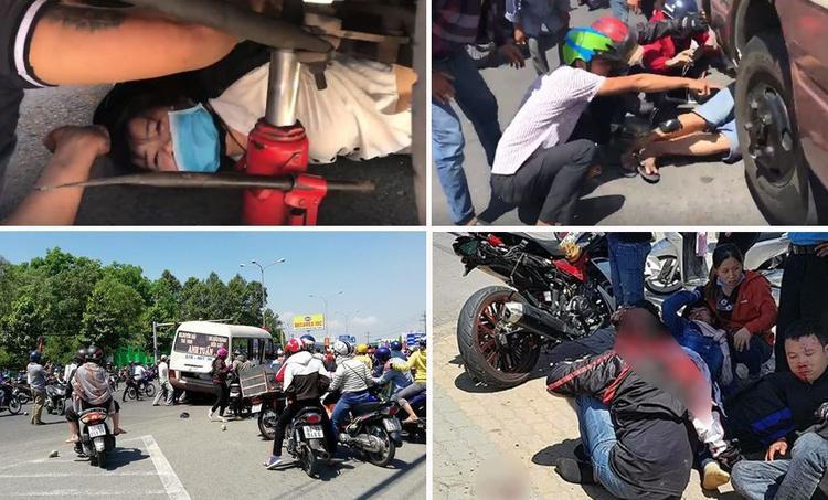 Các nạn nhân của vụ tai nạn nằm la liệt tại hiện trường